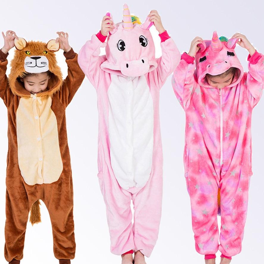df097bed4 Unicorn Pajamas for Boys Girls Winter Onesie Kids Animal Pajamas Children Kigurumi  Cosplay Pyjamas Winter Sleepwear