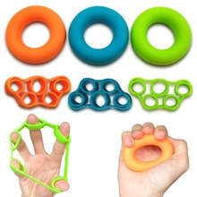 2pcs/lot Finger Resistance bands with Hand Grip Ring Expander rubber silicone elastic finger Fitness Trainer band +griping ring