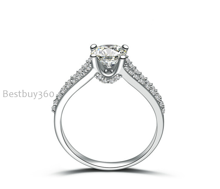 0.8ct 4 prongs ring pure 925 silver simulation NSCD sona man made diamond wedding ring