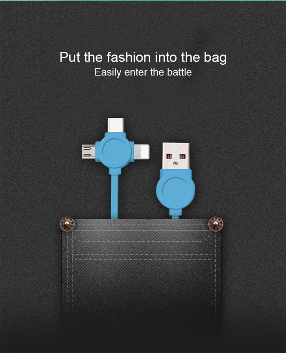 NOHON 3 in 1 USB Cable Type C Lighting Charge Cable For iPhone X 7 8 Plus IOS For Xiaomi Huawei Samsung Fast Charging Cables 1M (3)