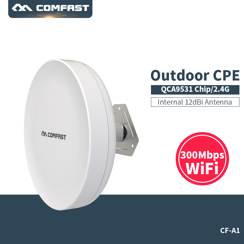 Comfast Outdoor CPE Wireless WIFI Extender Repeater 2.4G 300Mbps Outdoor WiFi Router Bridge Waterproof QCA9531 Access Point AP silver eve got 2
