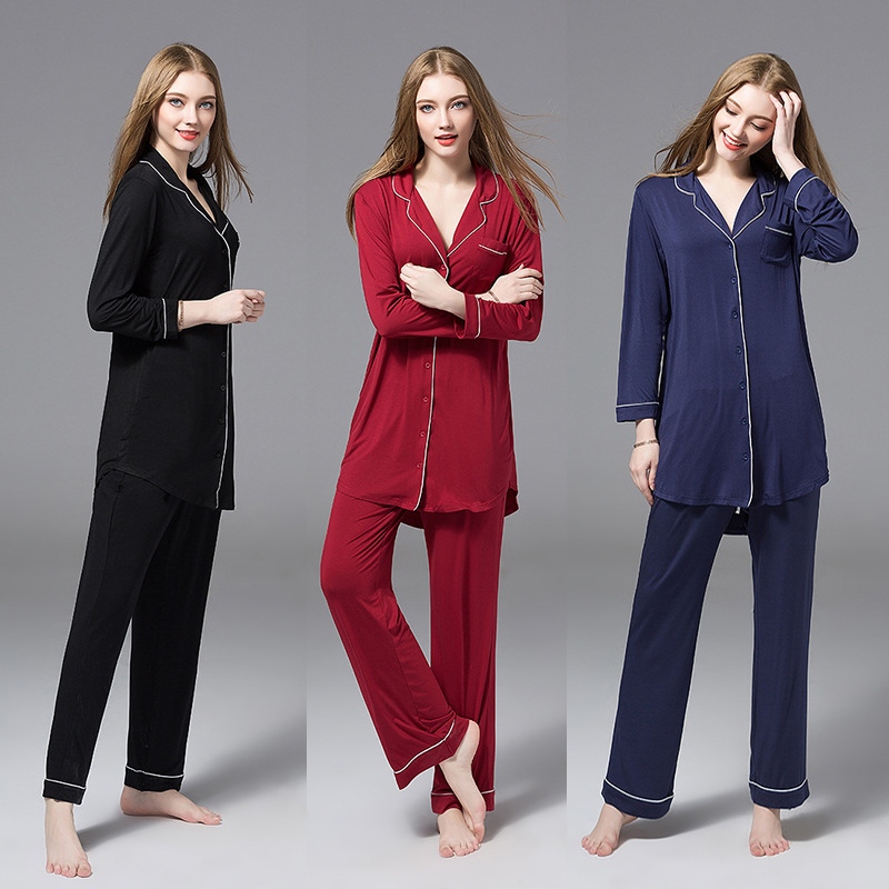 All Seasons Long Sleeve Modal   Pajamas   Suit Women Lounge   Pajama     Sets   Pijama Sleepwear Pyjamas Women   Pajama     Sets   Winter Plus Size