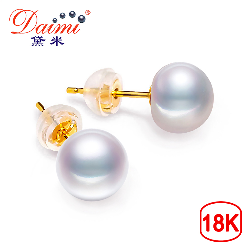 DAIMI 18k Pearl Earring High Luster White Freshwater Pearl Studs Earrings Half Round 8-9mm High Quality Brand Jewelry For WomenDAIMI 18k Pearl Earring High Luster White Freshwater Pearl Studs Earrings Half Round 8-9mm High Quality Brand Jewelry For Women