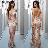 Fashion Floral Sequined Embroidery Dress Women Backless Split Maxi Dress Deep V neck Sexy Party Dress Casual Bohemian Dresses