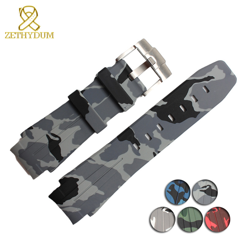 Silicone Rubber watchband wristband bracelet watches band Convex interface belt 21mm strap Camouflage colors