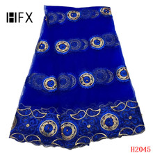 HFX 2019 High Quality Nigerian Lace Fabrics Latest Beaded Mesh African Fabric Bride Guipure French Net F2045
