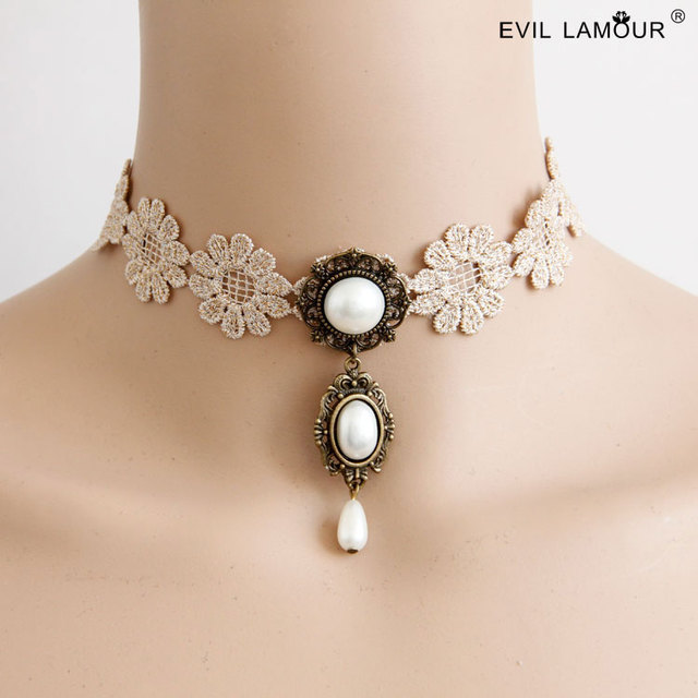 NEW Fresh Ivory Lace Choker Necklaces for Woman Bohemia Charm Flower Pearl Chokers Fashion Party Costume & NEW Fresh Ivory Lace Choker Necklaces for Woman Bohemia Charm Flower ...