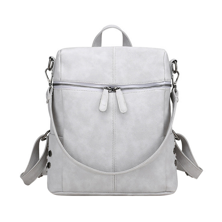 87eb46faee Simple Style Backpack Women PU Leather Backpacks For Teenage Girls School Bags  Fashion Vintage Solid Shoulder Bag A0725 23