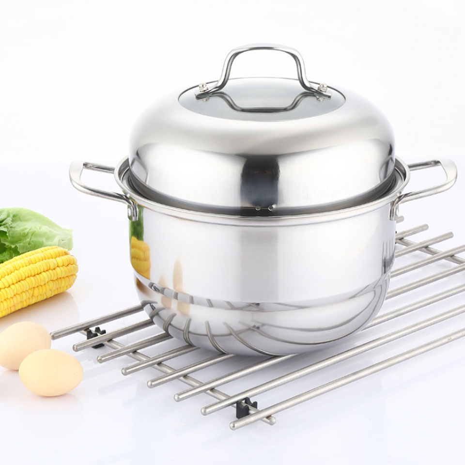 Steamer Saucepan Us 29 64 29 Off Transhome Combination Pot Stainless Steel Three Layer Thick Steamer 37cm Soup Cooker Stewing Pot Saucepan Multi Purpose Steamer In