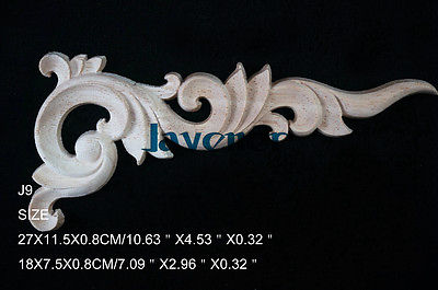 J9- 27x11.5x0.8cm Wood Carved Corner Onlay Applique Unpainted Frame Door Decal Working Carpenter Flower