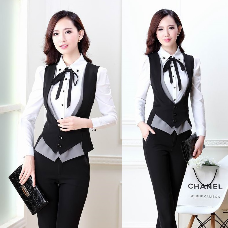 New 2018 Summer Autumn Fashion Pantsuits Women Suits With Pant And Top Sets Slim Formal Ladies ...