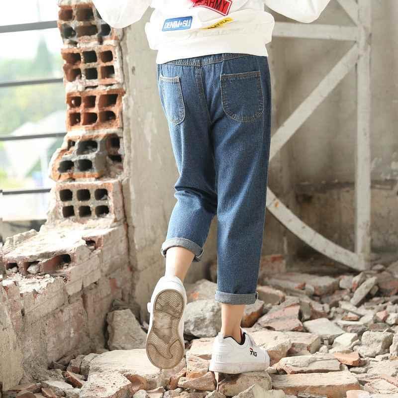 Yeni Bahar Sonbahar Çocuk Kız Pamuk Katı Denim Tayt Çocuk Kız Gevşek dar kot Pantolon Bebek Kız Elbise Pantolon Y58