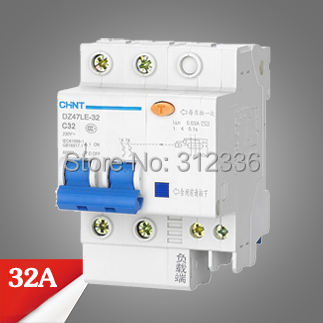 цена на Free Shipping Two years Warranty DZ47LE-32 C32 2P 32A 2 pole ELCB RCD earth leakage circuit breaker residual current