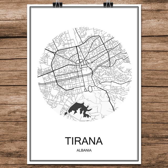 Black White World City Map of TIRANA Albania Print Poster Coated