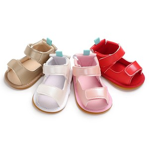 Fashion summer baby girl PU breathable Beach Rubber Bottom First Walkers hook loop  Anti-slip Casual Shoes