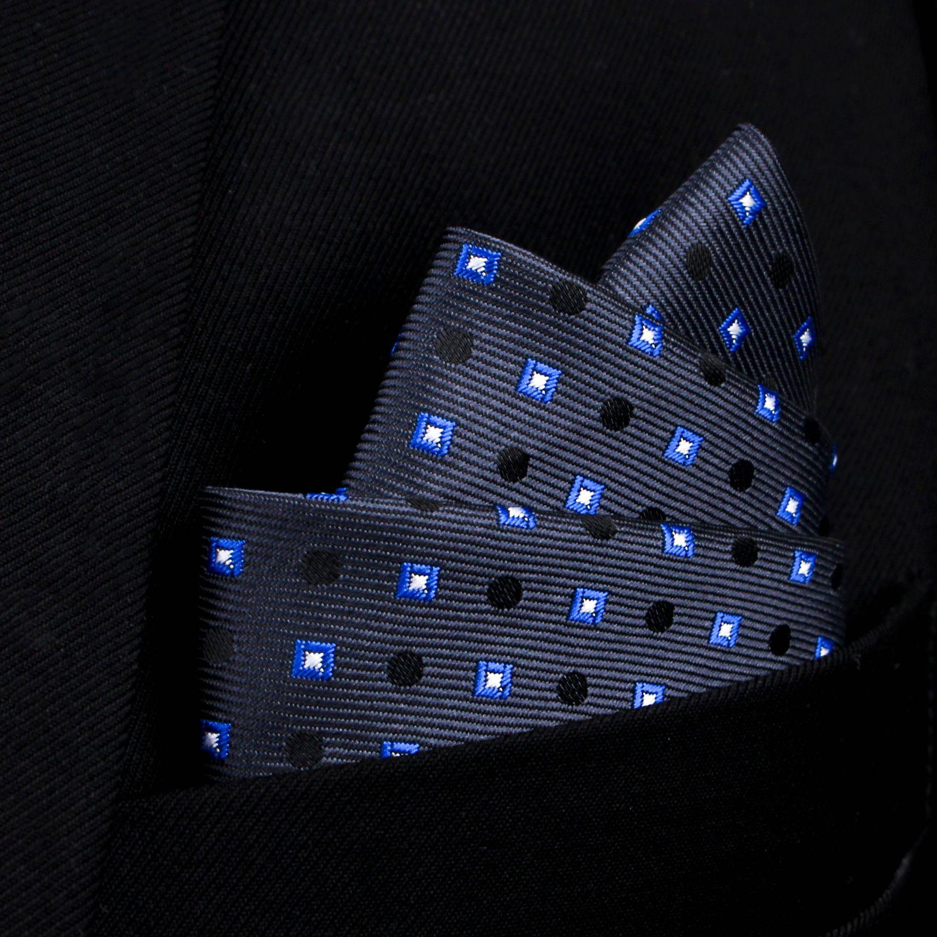 Bridegroom Wedding Business Men Tuxedo Suit Imitated Silk Navy Blue Polka Dot Plaid Embroidery Pocket Square Towel Handkerchief