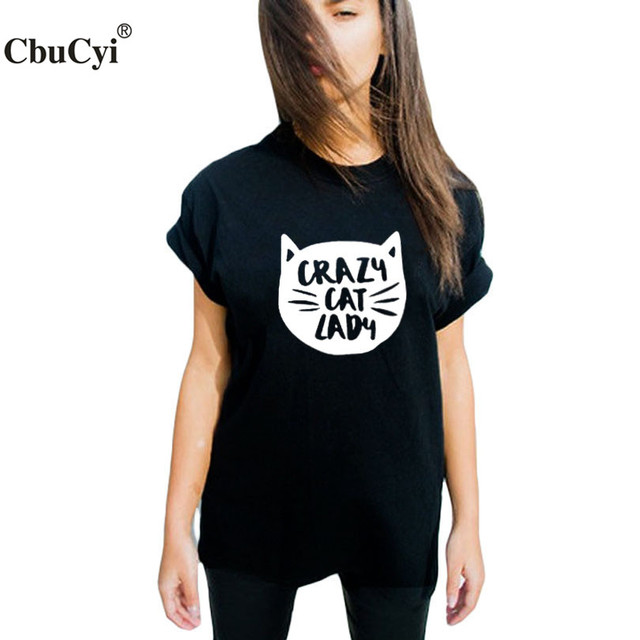 844109558 Crazy Cat Lady T Shirt Hipster Graphic Tees Women Tops Black White T-Shirt  Tumblr Funny Tee Shirt Femme Black White