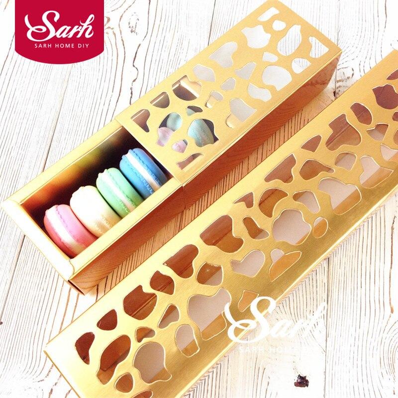 10 unids/lote paquete de galletas de Color dorado tira hueca macarrones caja, caja de pastel, Chocolate, Caja de galletas para hornear