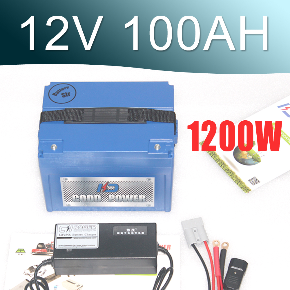 New Protection Large capacity 12V 100AH Lithium ion Battery with ABS Case / BMS System FOR solar EV Car Golf batteries