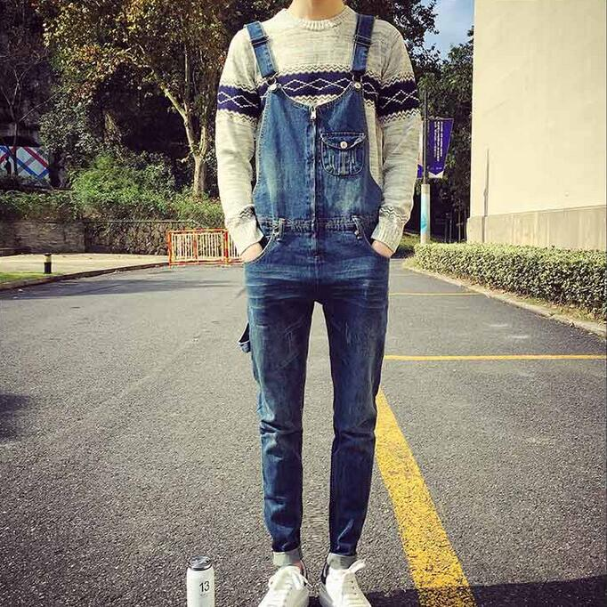 Front Zippered Design Men Blue Denim Overalls New 2017 Distressed Bib Jeans Scratched Overall Jeans With Suspenders men distressed denim overalls mens denim with suspenders new 2017 hole design washed male bib jeans