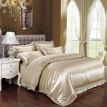 2017 Queen King size 4/6pcs Luxury bed linen gold bedding set tribute silk satin Jacquard duvet cover Bedclothes bedspread