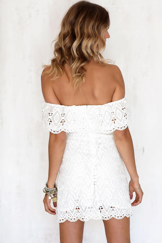 Sexy off the Shoulder White Lace Dress Women Casual vestido de festa feminino Monos Summer Style High Slit Party Boho Dresses 8