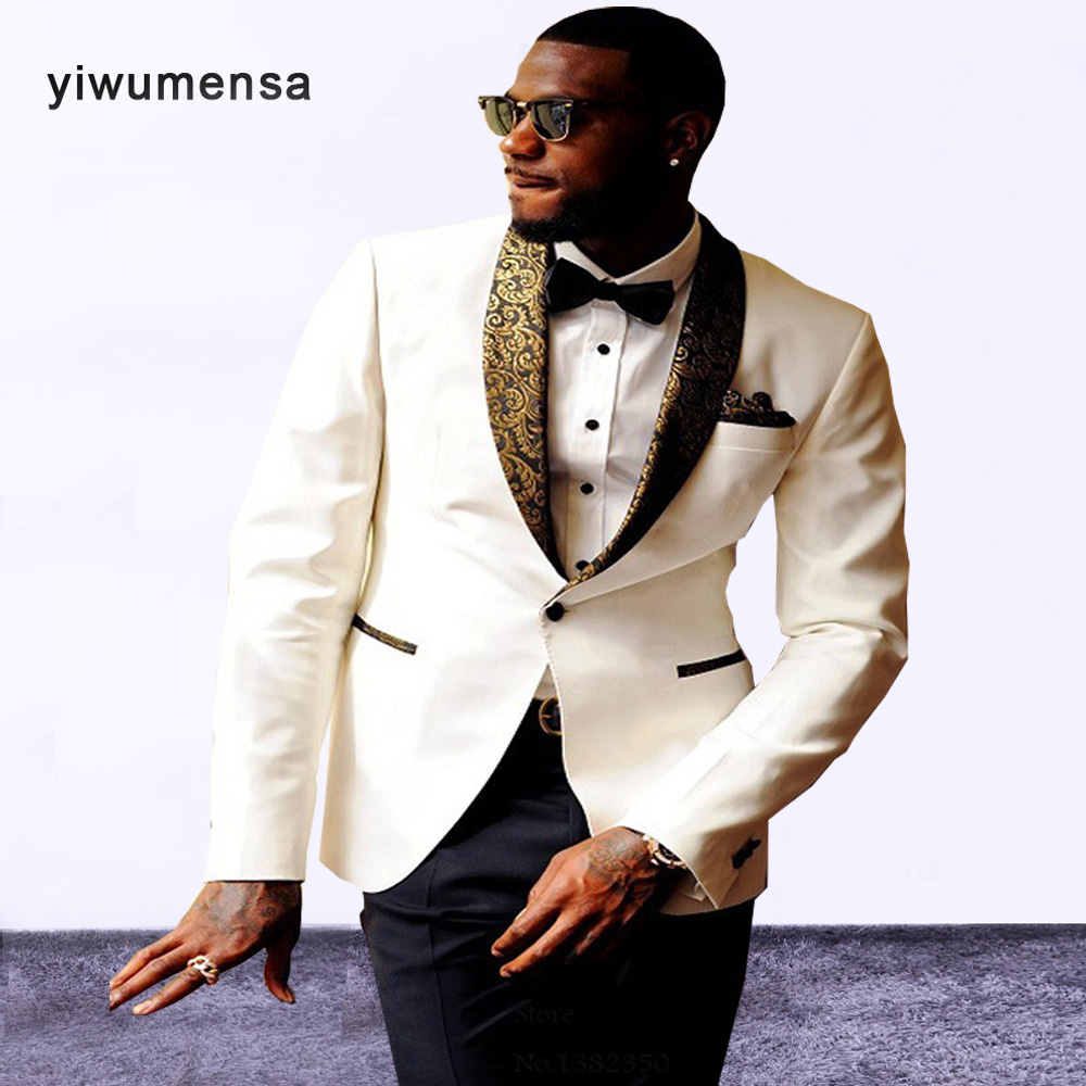 Smart Casual wedding suits for men Ivory/Black costume homme Two ...