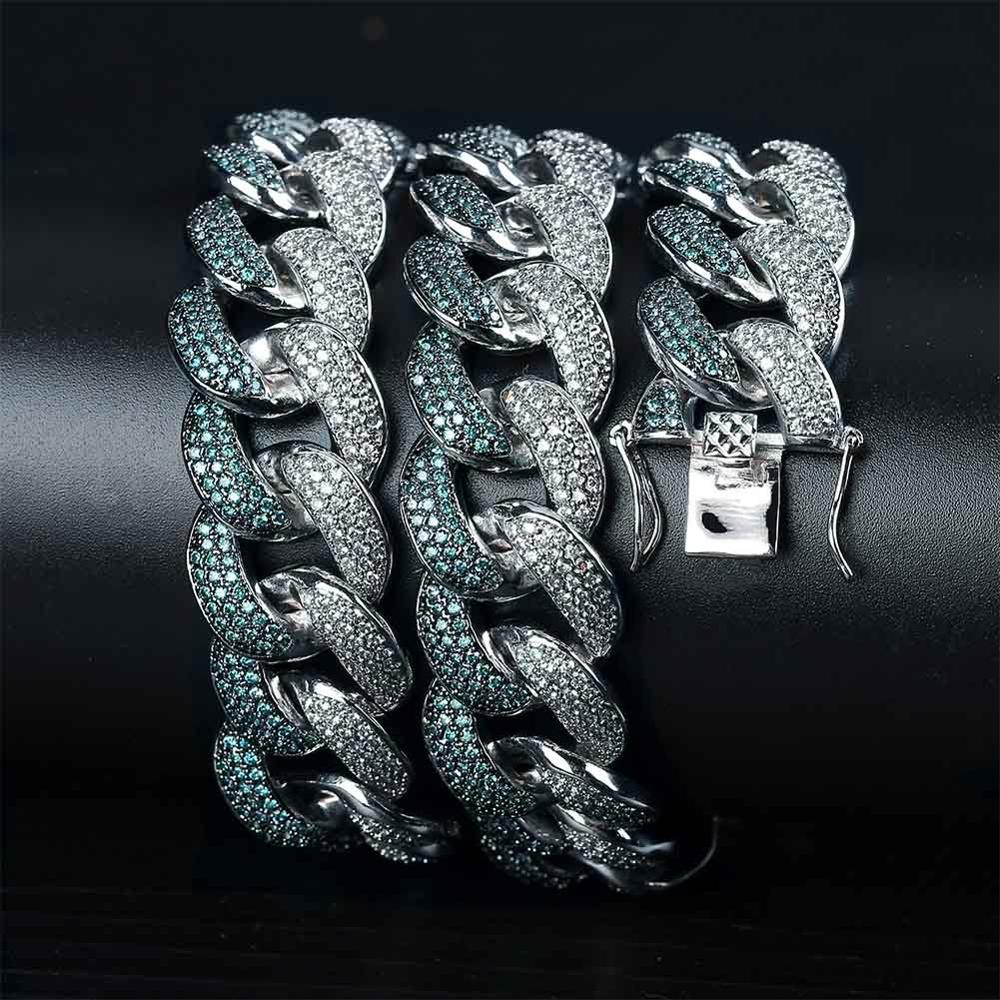 JINAO New 18MM ICED OUT Flooded Mint Blue CZ Maimi Cuban Link Young Dolph Blue Cubic Zircon Hip Hop Jewelry Gift