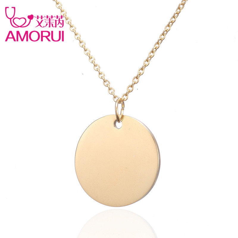 Rose Gold/Gold/Silver Disc Pendant Collar Necklace Jewelry Crystal Circle Colares Necklaces & Pendants for Women