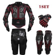 Herobiker черный мотогонок Body Armor защитная куртка + Gears Короткие штаны + мотоциклов защиты коленей + мото перчатки