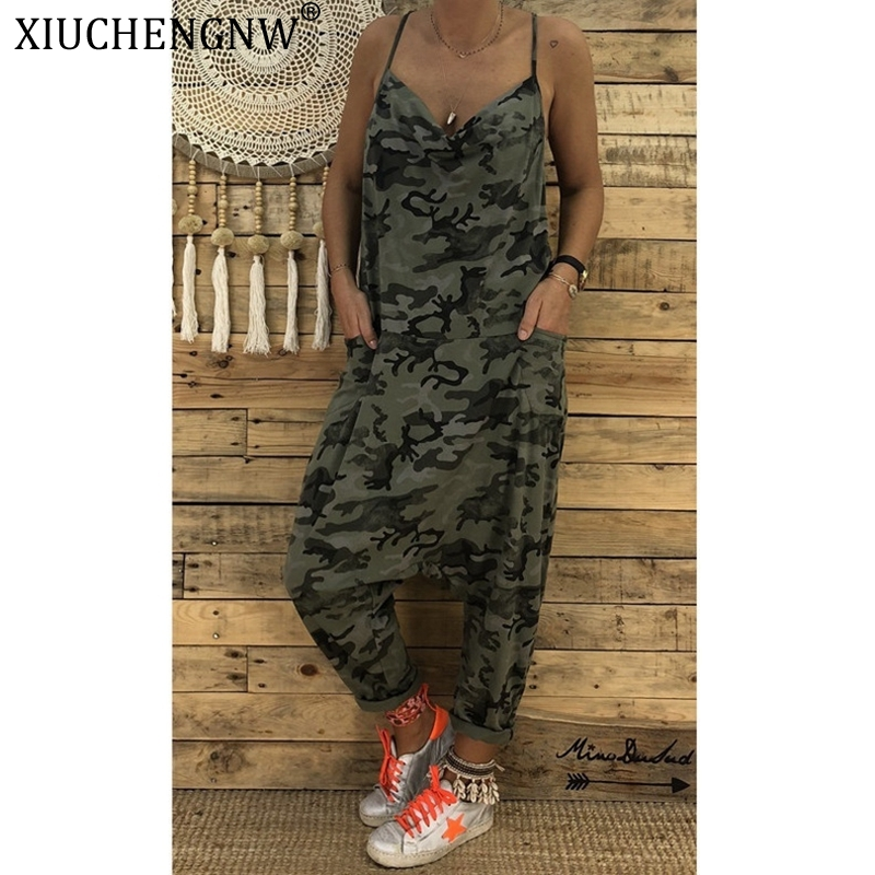 Women Camouflage Bodysuit Clubwear Playsuit Party Overall Wide Leg Sling Jumpsuit Strappy Romper Hip Hop One Piece Dungarees