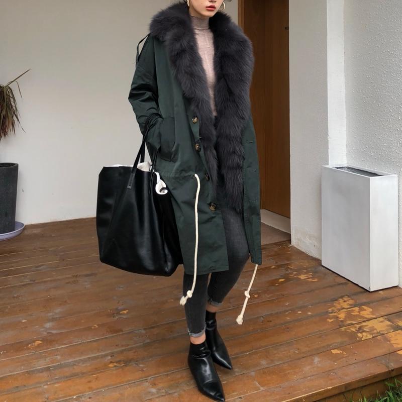 Ptslan 2018 Nuovo Inverno Reale Della Pelliccia Delle Donne del Rivestimento Caldo della Pelliccia di fox del Cappotto Lungo Sottile Donna Parka Cappotto Ispessimento P4719