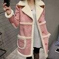 2017 Winter Coat Women Long Sheepskin Suede Cloak Winter Jacket Women Lapel Thick Warm Women's Coats Overcoat Jaqueta 3 Colors