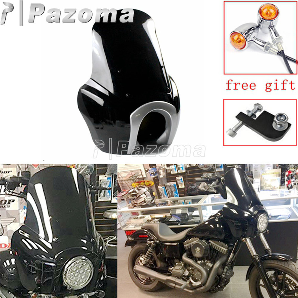 Black Motorbike Front Headlamp Mask Headlight Fairing Windscreen Deflect For Harley Dyna Custom Street Bob FXR FXDXT 2006-2017