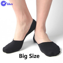 Meias masculinas de tamanho grande, meias invisíveis unissex de corte baixo tornozelo, antiderrapantes de algodão, casuais, 10, pares/lote meia de barco de silicone 43 47