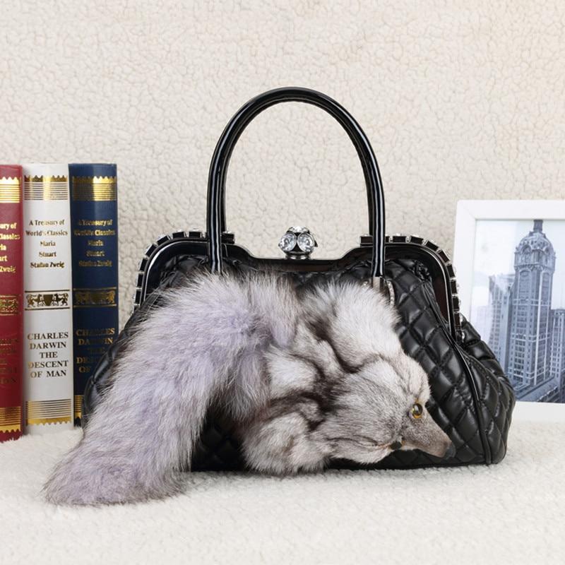 New Winter Luxury handbags Leather Shoulder Bag Fox fur handbag Designer Boston women messenger bags With Diamonds Ladies Bag