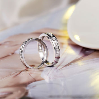 Solid 14K White Gold Luxury Wedding Band 4