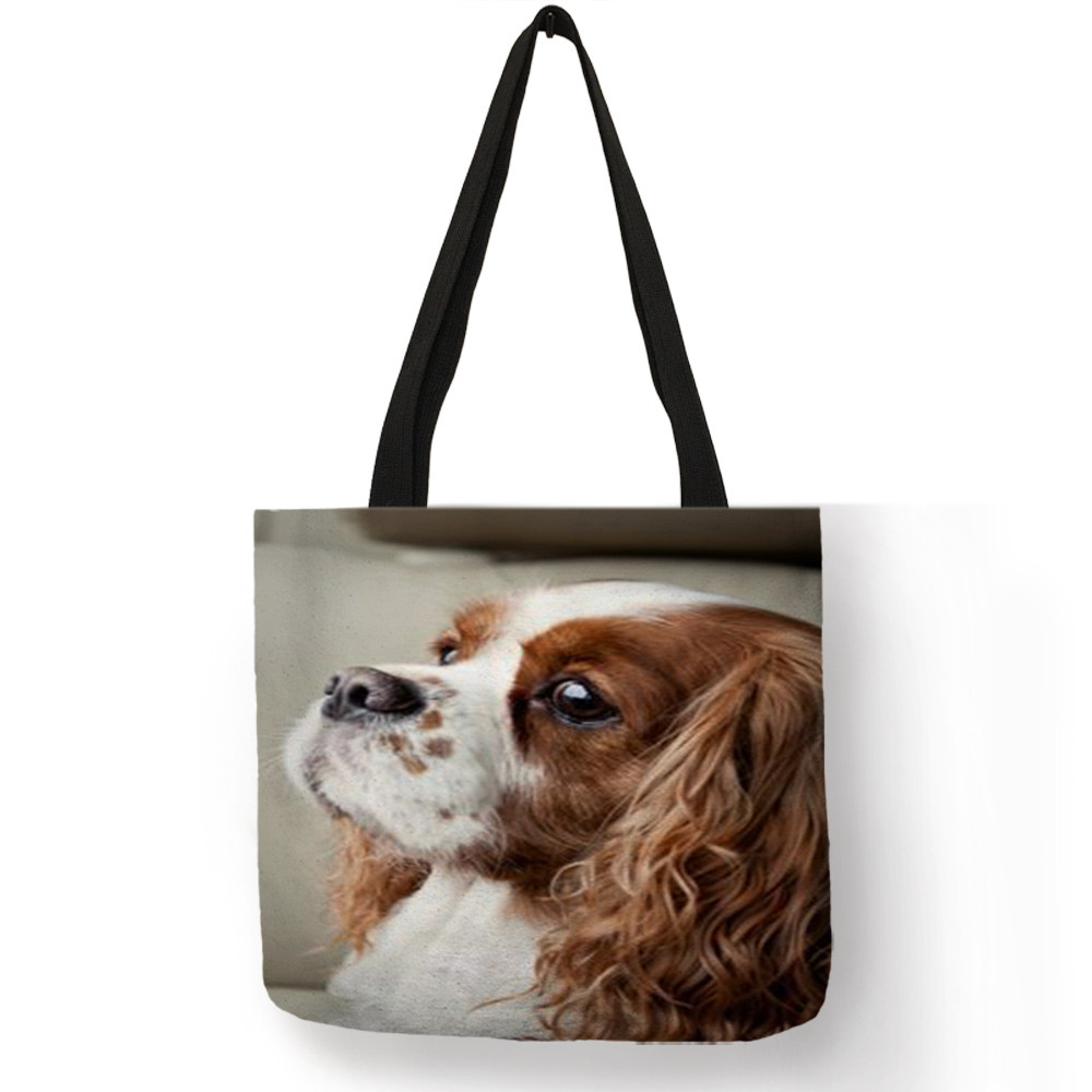 Personalized Casual Shoulder Bag for Women Men Charles Spaniel Painting Print Handbag Daily  School Travel Shopping Bags TotePersonalized Casual Shoulder Bag for Women Men Charles Spaniel Painting Print Handbag Daily  School Travel Shopping Bags Tote