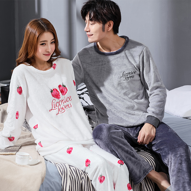 Winter Couple Cartoon Coral Velvet Pajamas Set Women Long Sleeve Plus Thick Warm Flannel Large Size Pyjamas Sets Home Suits 1815