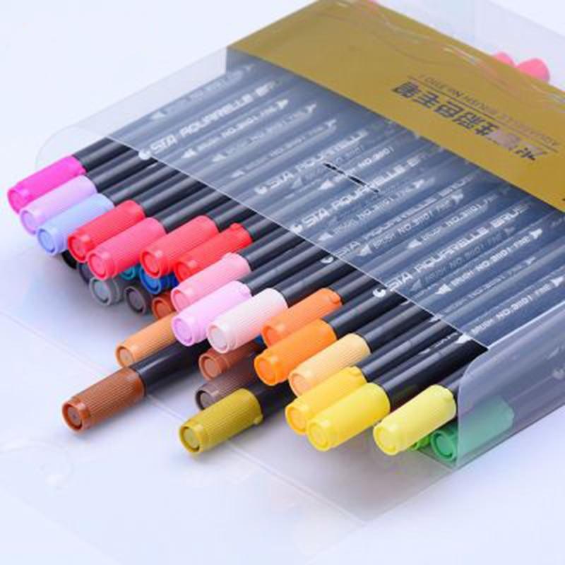 24 Colors Water Brush Soft Headed Marker Pen Sketch Marker Brush Drawing Designers Marker Pen Colors Set Art Marker italic nib art fountain pen arabic calligraphy black pen line width 1 1mm to 3 0mm