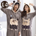 Free Shipping New arrive Winter Full Sleeve Flannel Velvet Lovers Grey Colour Warmth Housewear Sets