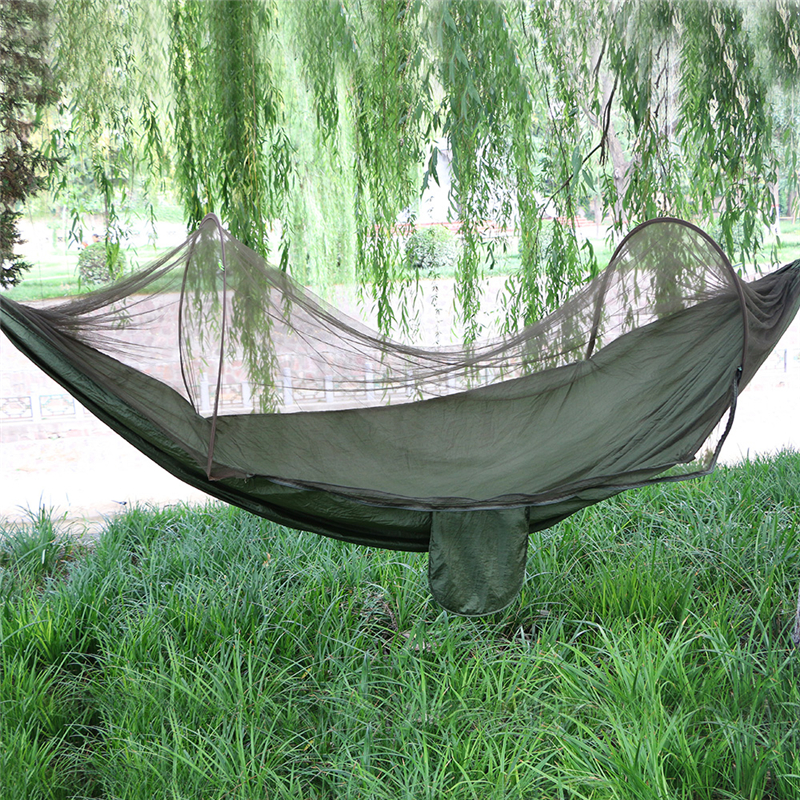 Green quick release easy opening mosquito curtain hammock haning outdoor swings cot bed rest travel kit camping 1pc