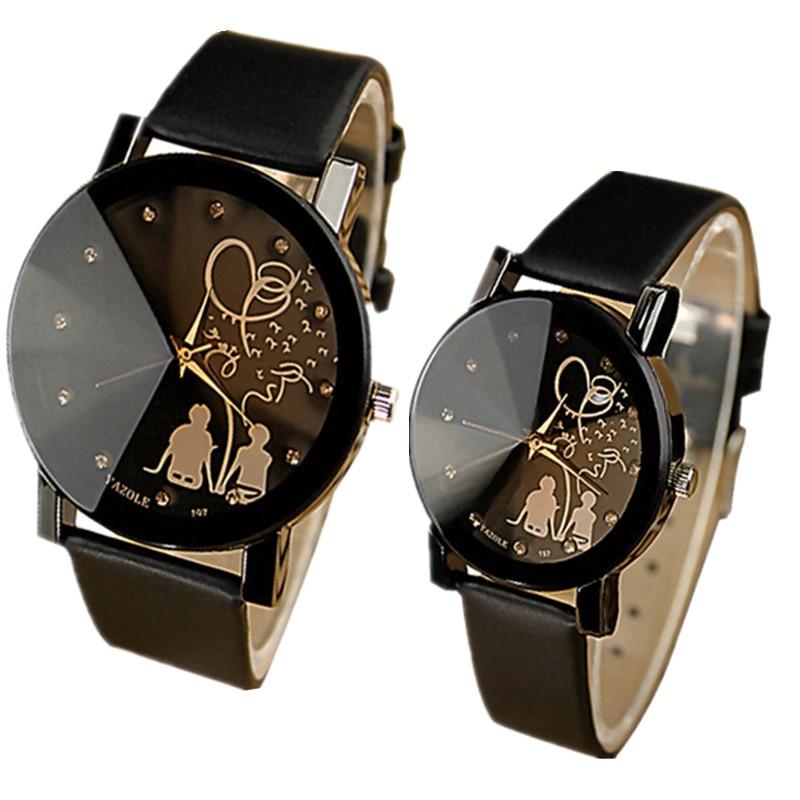 YAZOLE Lovers' Watch Women Men Watch Fashion Crystal Wrist Watches Leather Strap Fashion Watches Clock Reloj Hombre Reloj Mujer