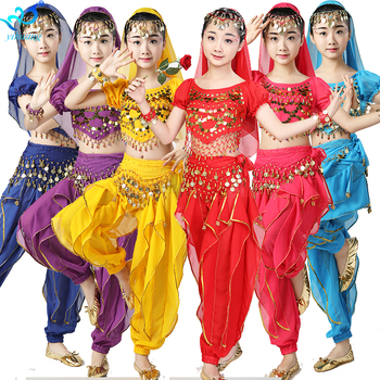 Girls Indian Belly Dance Costumes Child Halloween Costume Kids Gypsy Egyptian Performance Show Party Outfits Chiffon 6pcs Set indian princess belly dance tulle feather party mask