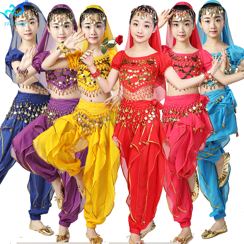 Girls Indian Belly Dance Costumes Child Halloween Costume Kids Gypsy Egyptian Performance Show Party Outfits Chiffon 6pcs Set