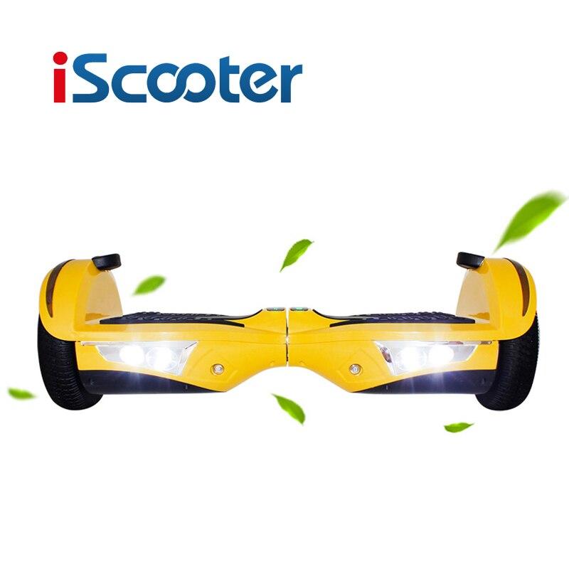 IScooter hoverboard 7.5 pouces 2 Roue Électrique Planche À Roulettes volant Auto Équilibrage dérive de Planche À Roulettes scooter Avec bluetooth LED