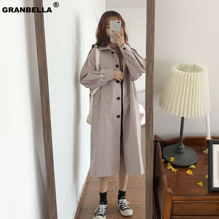 Female Vintage Long   Trench   Back Letter Print Single Breasted Women's   Trench   Coats Stylish Lantern Sleeve Cloak Outwear
