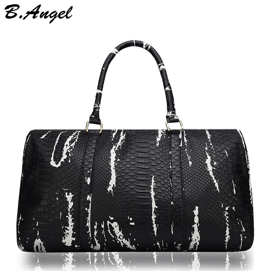 High quality crocodile pattern men travel bags women duffle bag hand  luggage leather traveling bag handbag corssbody with strap b14c8f23644fa
