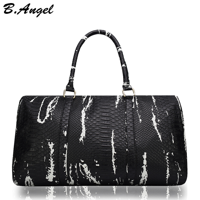 High Quality Crocodile Pattern Men Travel Bags Women Duffle Bag Hand Luggage Leather Traveling Handbag
