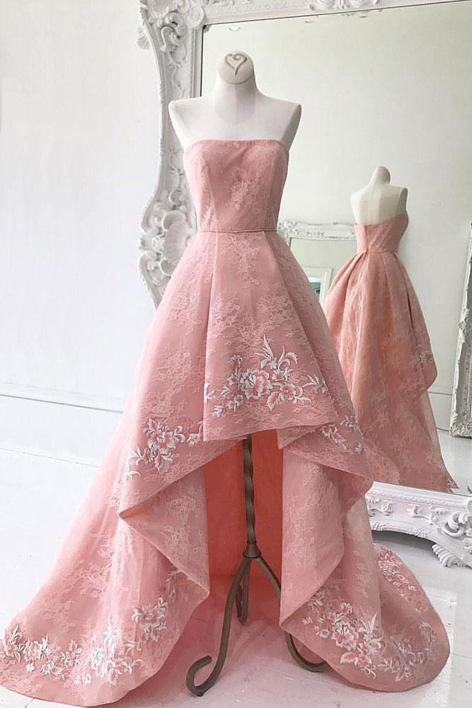 Abendkleider 2018 encaje vestidos de baile Vintage rosa Coral alto ...